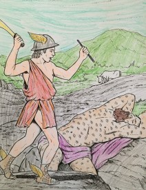 "Hermes lulls Argus to sleep and slays him as a favor to Zeus. Photo from ""Greek Gods and Goddesses"". Dover Coloring Books, Dover Publications, Inc."
