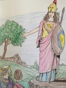 "The Roman goddess Minerva was called Athena by the Greeks. Photo from: Dover Coloring Books ""Greek Gods and Goddesses."" Dover Publications, Inc."