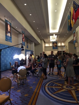 Outside the Maryland Ballroom, many spellers are asked for quick interviews by various media people.