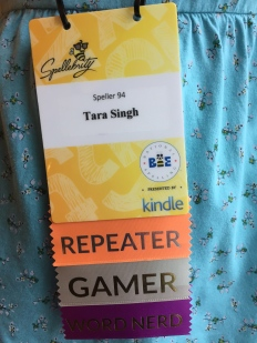 Spellers and their family members could decorate their name badges with colorful ribbons.