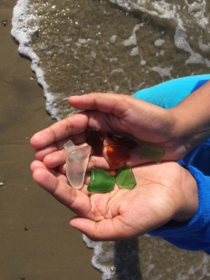 Colorful sea glass can be found at Del Monte Beach in Monterey, California.