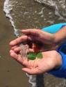 Colorful sea glass can be found at Del Monte Beach in Monterey, California.