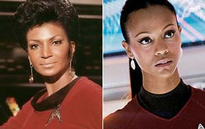 Nyota Uhura was portrayed by  Nichelle Nicols in the original Star Trek. Zoe Saldana currently portrays Uhura in the newer Star Trek movies. (Image from rottentomatoes.com)