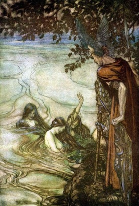 Nixes are water spirits who lure people to their watery graves. (Painting by Arthur Rackham, image from www.wikipedia.org)