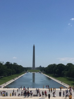 View of the Washington Memorial from the Lincoln Memorial.